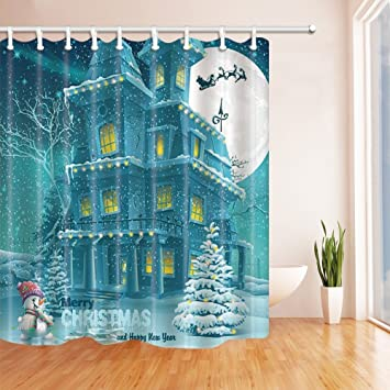 Nyngei Christmas Decor House In Der Schnee Fur Familie Polyester