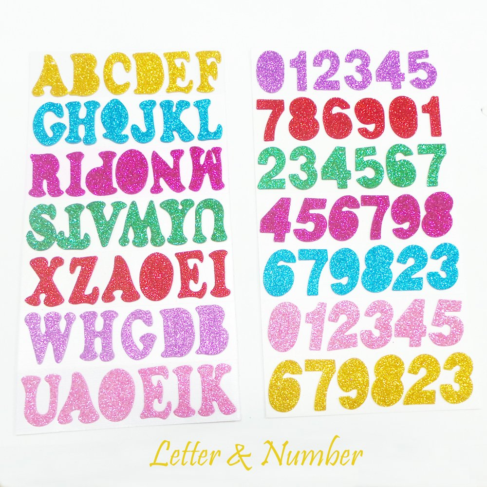 Glitter Foam Stickers Letter Alphabet Number Star Self Adhesive, 5 ...