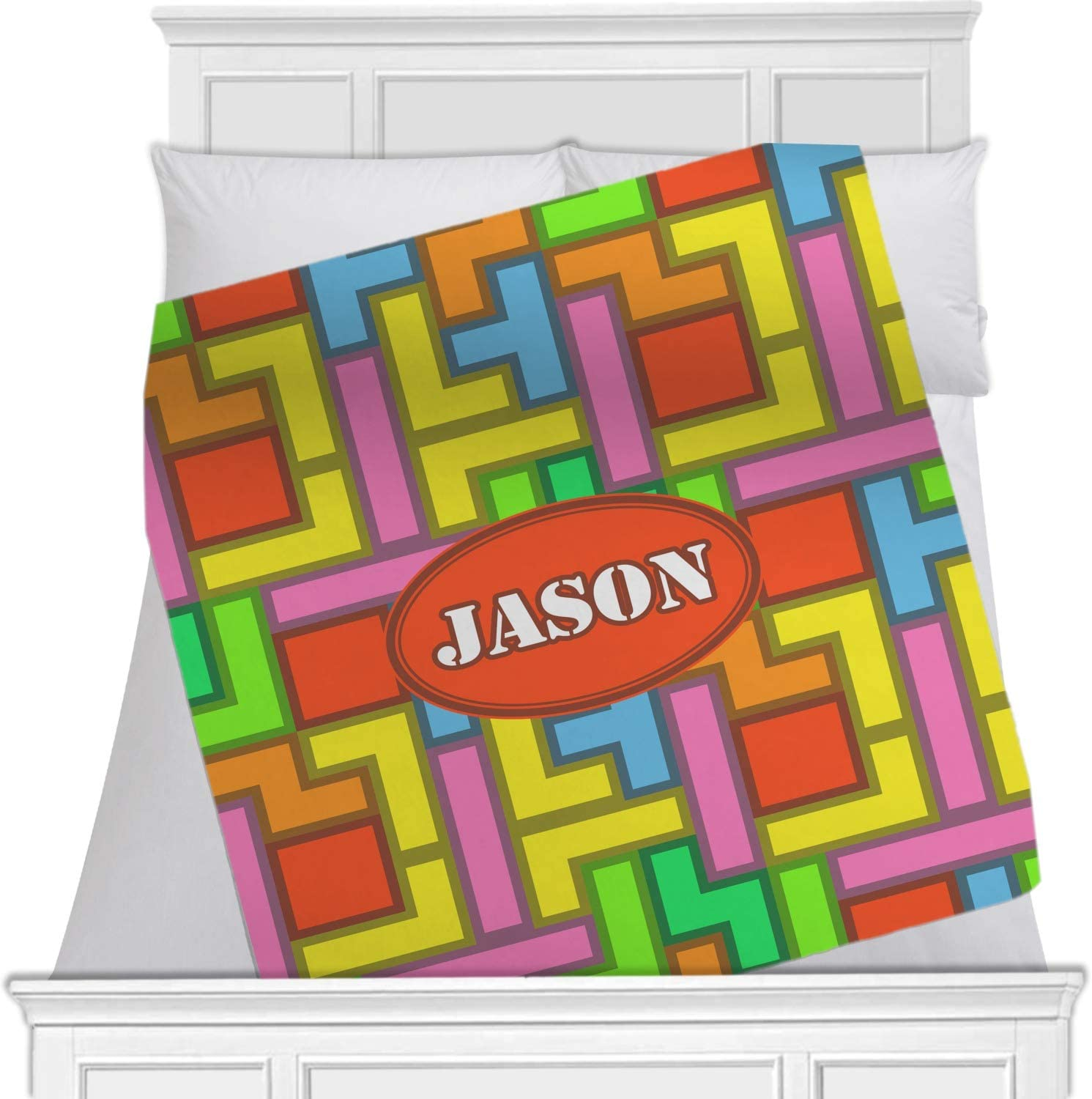 Personalize Double Minky Baby Blanket You Choose SOLID COLOR minky Premier Prints Elephant in Oyster Gray Minky Front