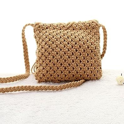 ea8977e29a Amazon.com  Aisa Girl s Fringed Crochet Shoulder Bag Pouch Cotton Tassel  Bohemian Beach Cross-body Bag Brown  Shoes