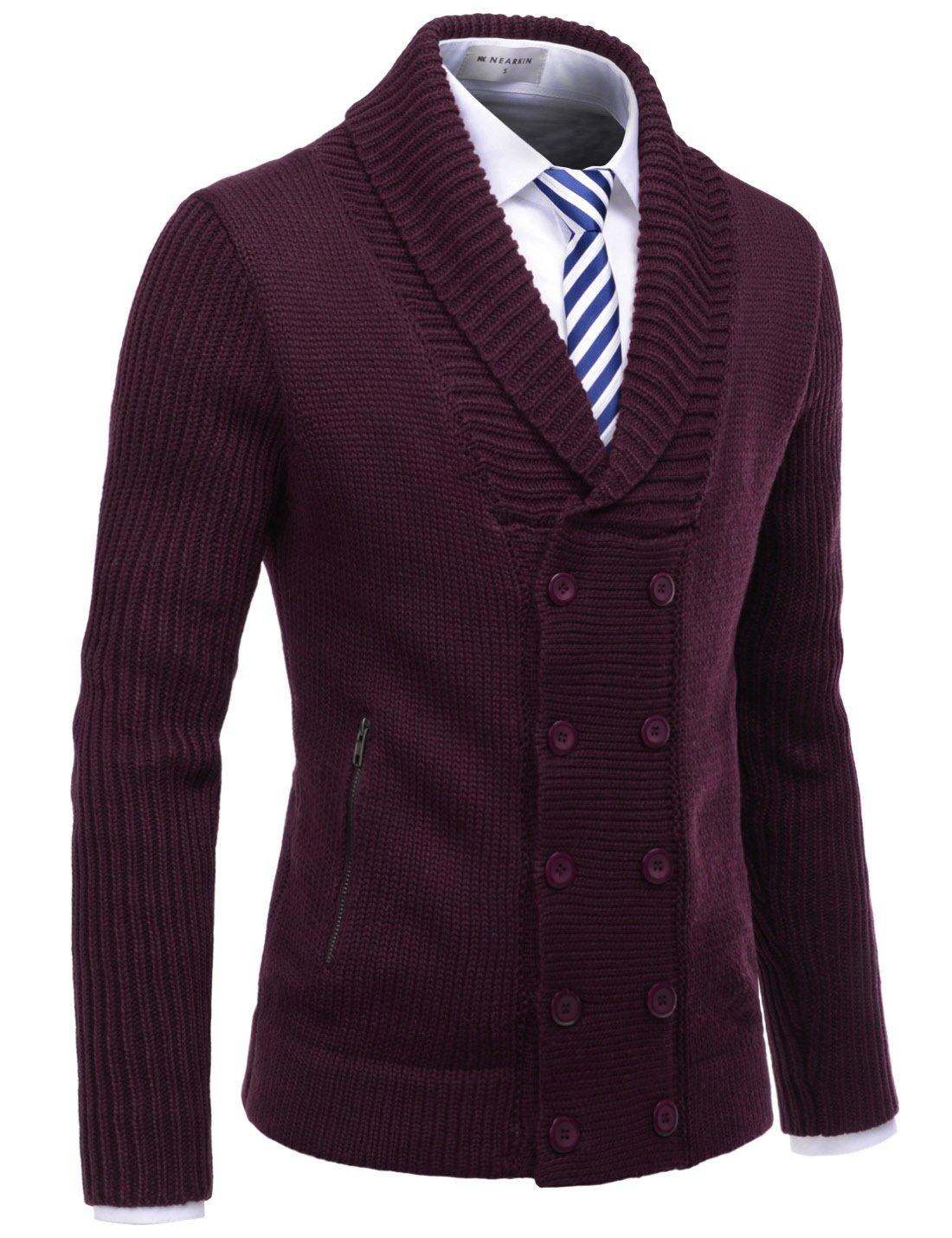 NEARKIN NKNKNDJ7 Mens Shawl Collar Double Button Down Winter Cardigan Sweaters Wine US XXL(Tag Size 2XL)