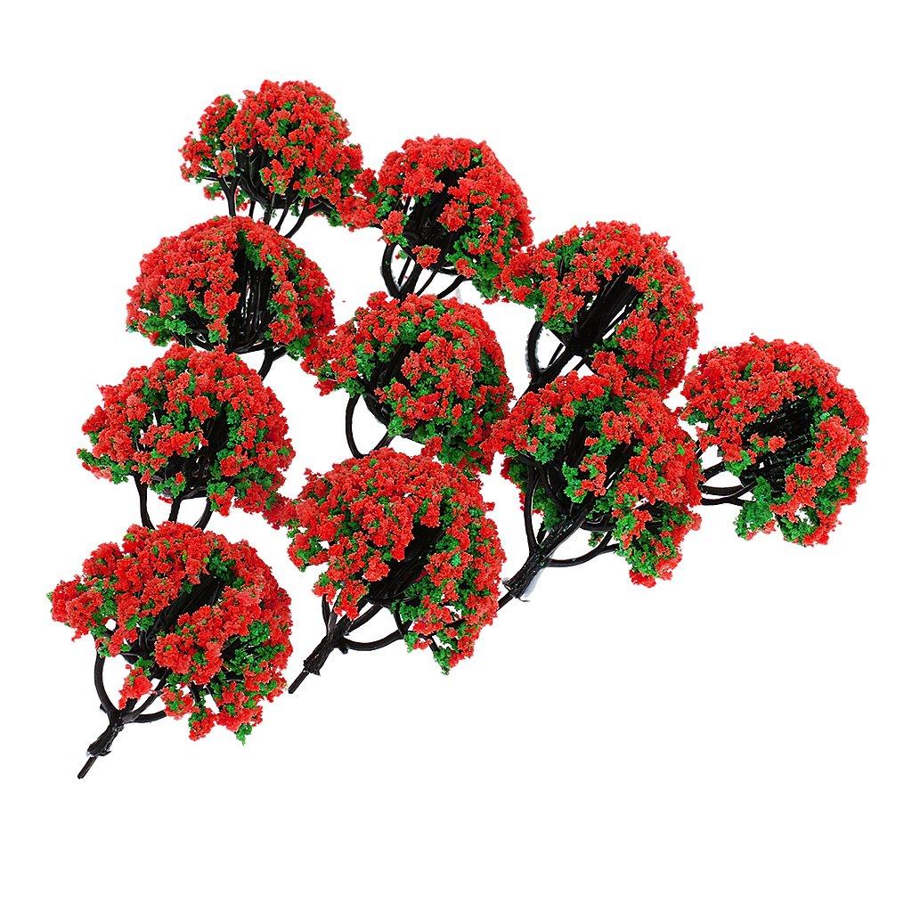 Dolity rouge Set de 10pcs Arbre Fleur Mod/èle Miniatures Plastique pour Paysage Maquette Ferroviaire Echelle 1//200