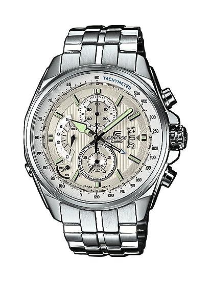 Casio EDIFICE - Reloj analógico de caballero de cuarzo con correa de acero inoxidable plateada (alarma, cronómetro) - sumergible a 100 metros: Amazon.es: ...