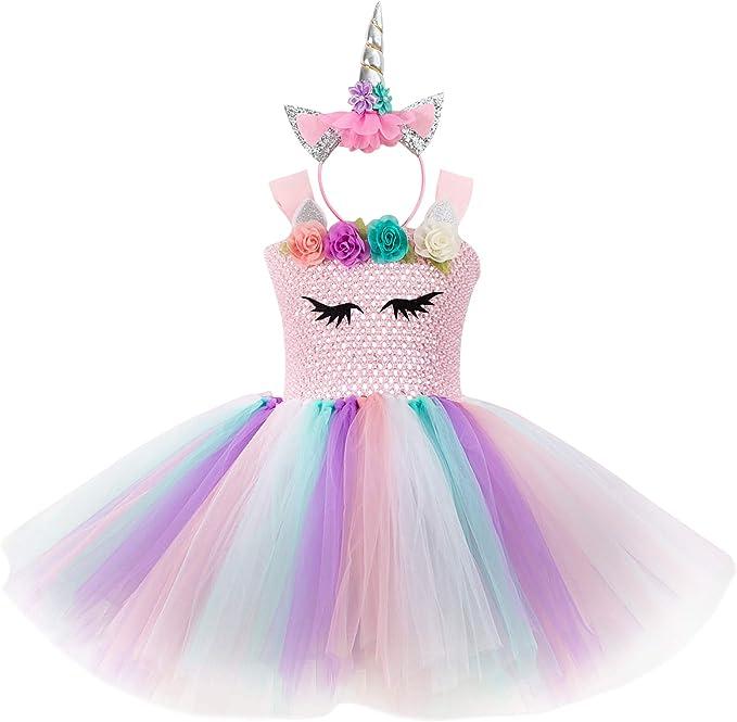 DJSJ- Vestido de Unicornio Rainbow Tutu para Niña con Diadema ...