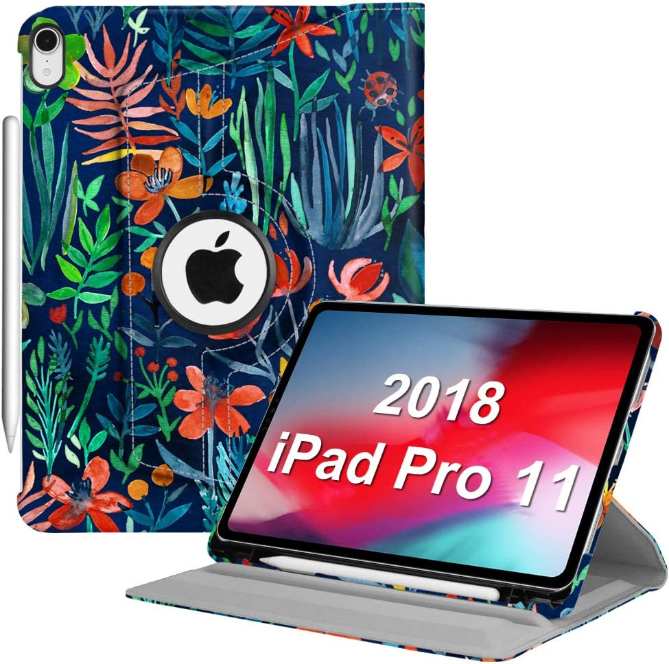 "Fintie Rotating Case with Built-in Pencil Holder for iPad Pro 11"" 2018 [Support Apple Pencil 2nd Gen Charging Mode] - 360 Degree Rotating Stand Protective Cover with Auto Sleep/Wake, Jungle Night"