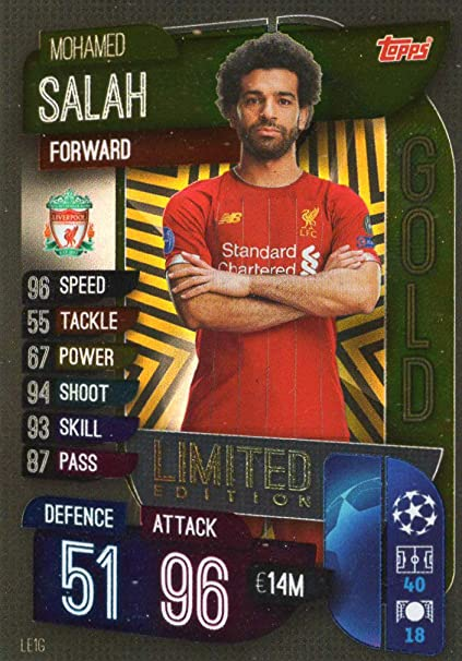 LIVERPOOL MATCH ATTAX 19//20 MOHAMED SALAH GOLD LIMITED EDITION TRADING CARD