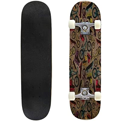 Classic Concave Skateboard EPS10 Vintage Background with Bicycles, Skateboards and Rollers Longboard Maple Deck Extreme Sports and Outdoors Double Kick Trick for Beginners and Professionals : Sports & Outdoors