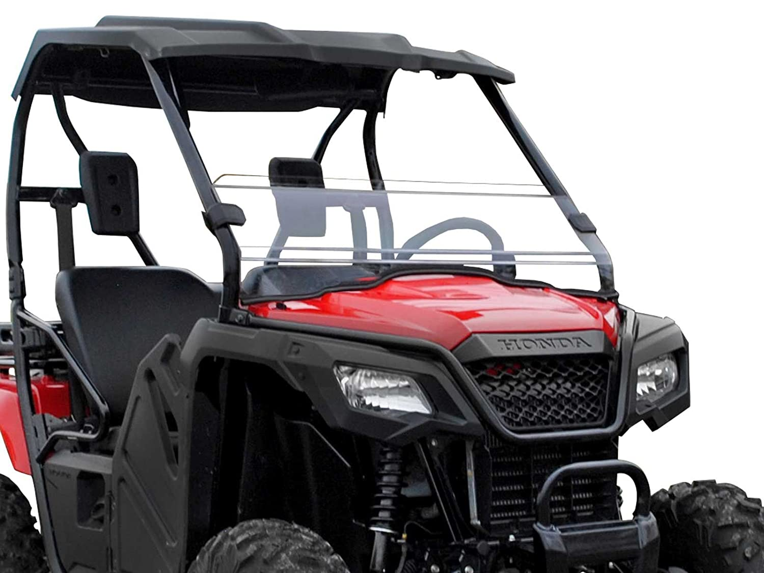 2015+ Installs in 5 Minutes! SuperATV Heavy Duty Scratch Resistant Half Windshield for Honda Pioneer 500 - Hard Coated for Extreme Durability and Long Life