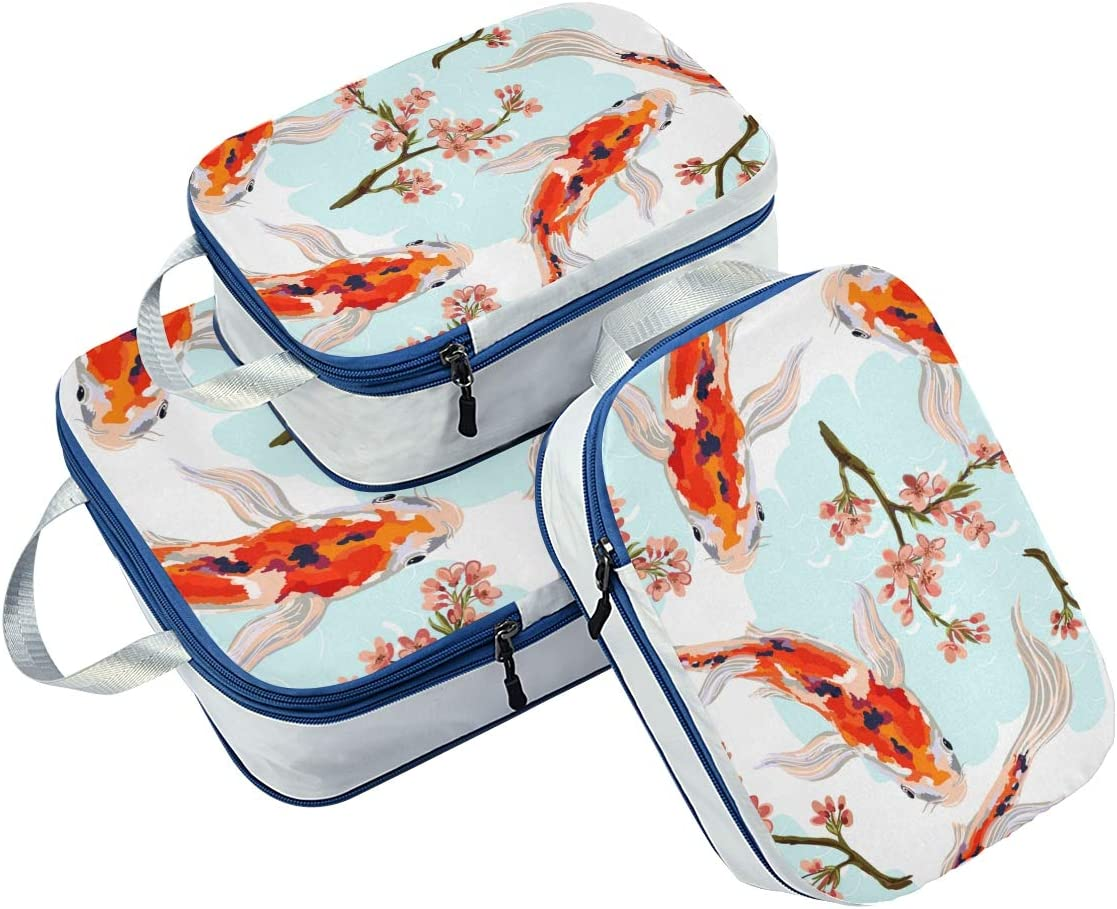 Gold Fish 3 Set Packing Cubes,2 Various Sizes Travel Luggage Packing Organizers m