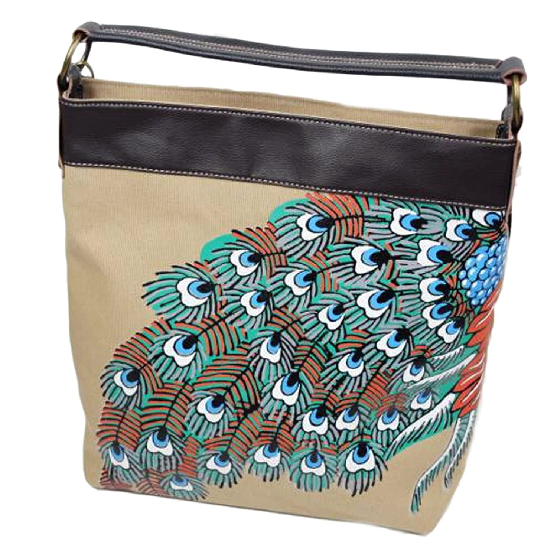 [Charming Peacock] Ethnic Canvas Handbag Fashion Shoulder Bag Satchel Bag
