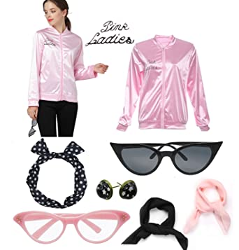 e85779cd3f34 Amazon.com  1950s Pink Jacket Scarf Ladies Halloween Party Fancy ...