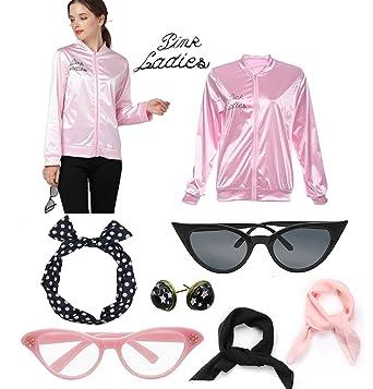 e85779cd3f34 Amazon.com  1950s Pink Jacket Scarf Ladies Halloween Party Fancy ...