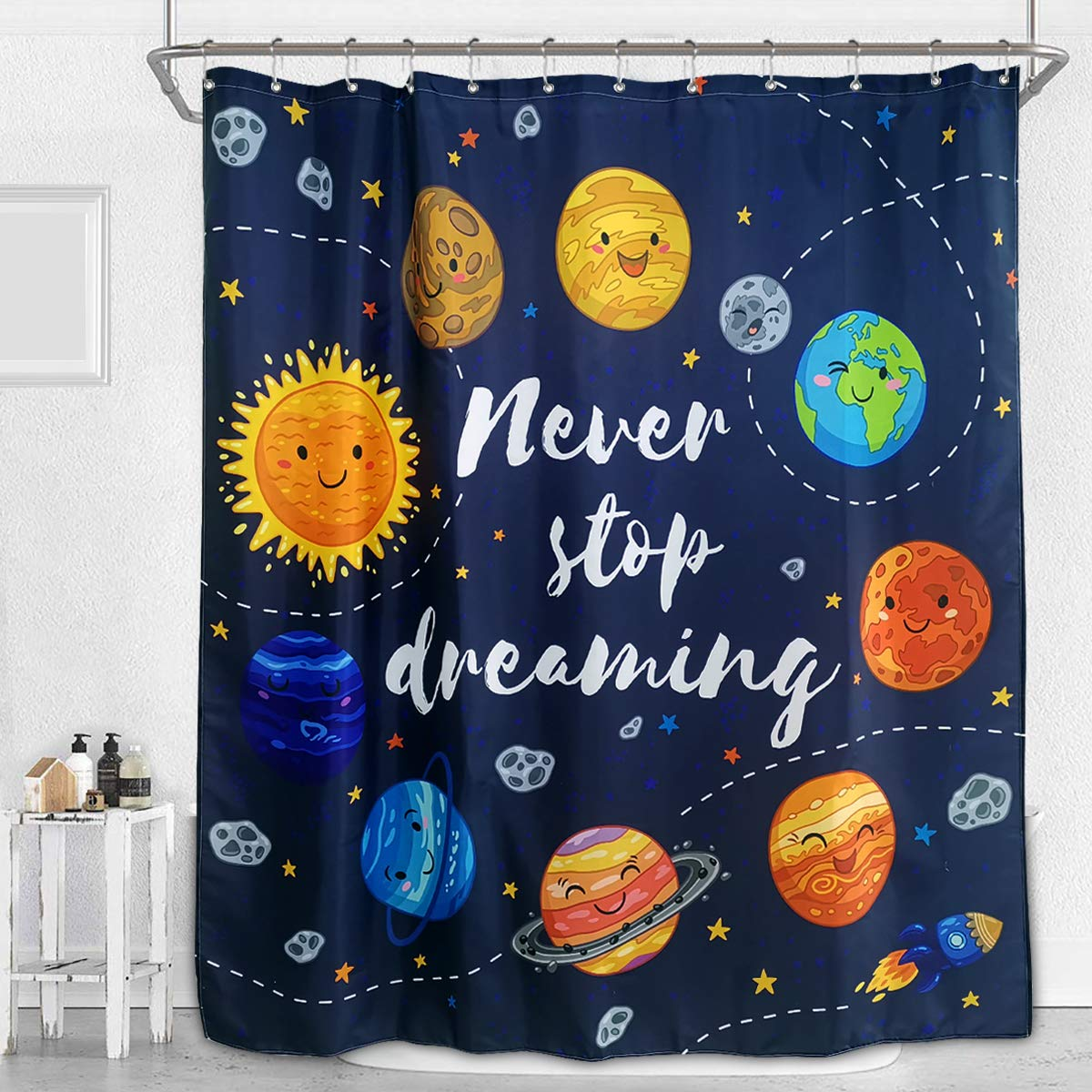 Unicorn Shower Curtain Pink Animals Cartoon Kids Girls Floral Colorful Oil Painting Decor Fabric Set Polyester Waterproof 72x72 Inch 12-Pack Plastic Hooks