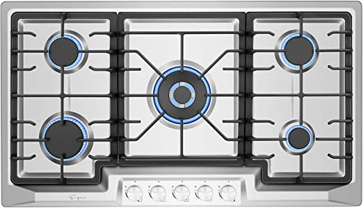 Amazon Com Empava Empv 36gc23 36 Inch Stainless Steel Gas Cooktop Professional 5 Italy Sabaf Burners Stove Top Certified With Thermocouple Protection Silver Appliances