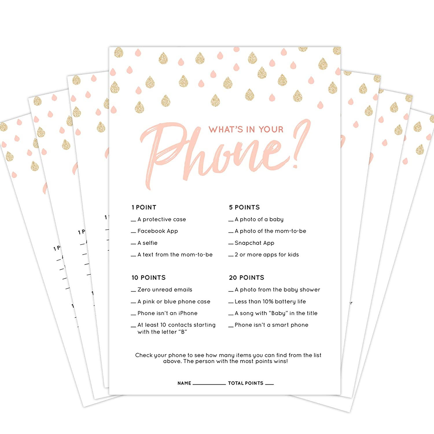 Amazon 30 Pack Baby Shower Game Cards Whats In Your Phone