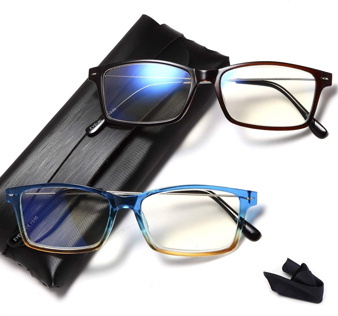 Computer Glasses 2 Pair Anti Glare Anti Reflection Spring Hinge Ombre Color Computer Reading Glasses for Men and Women