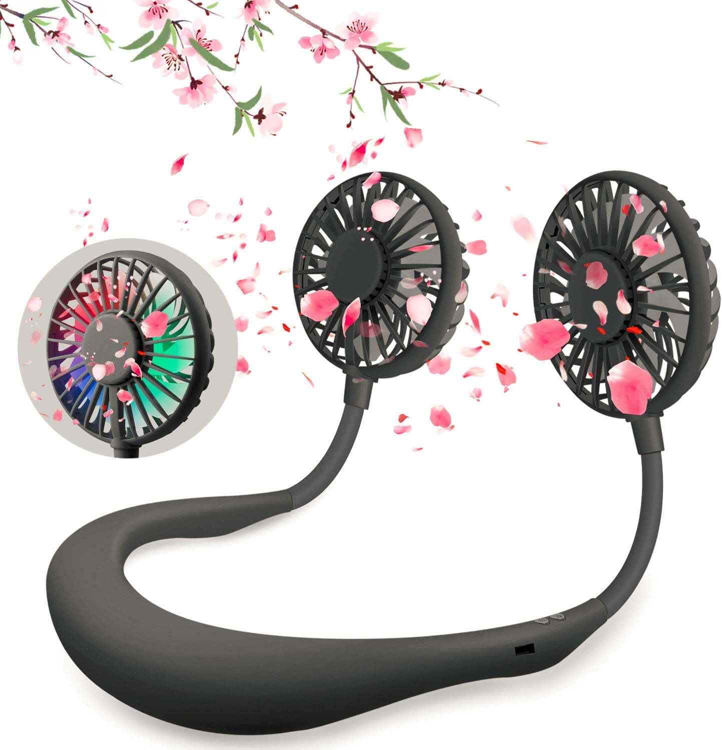 Hand Free Neck Fan, Portable Neck Fan ,2000mAh Rechargeable Battery Operated & 3 Speeds Personal Electric Wearable Fan with Colorful Led Light for Home, Office, Travel, Sport, Outdoor(Black)