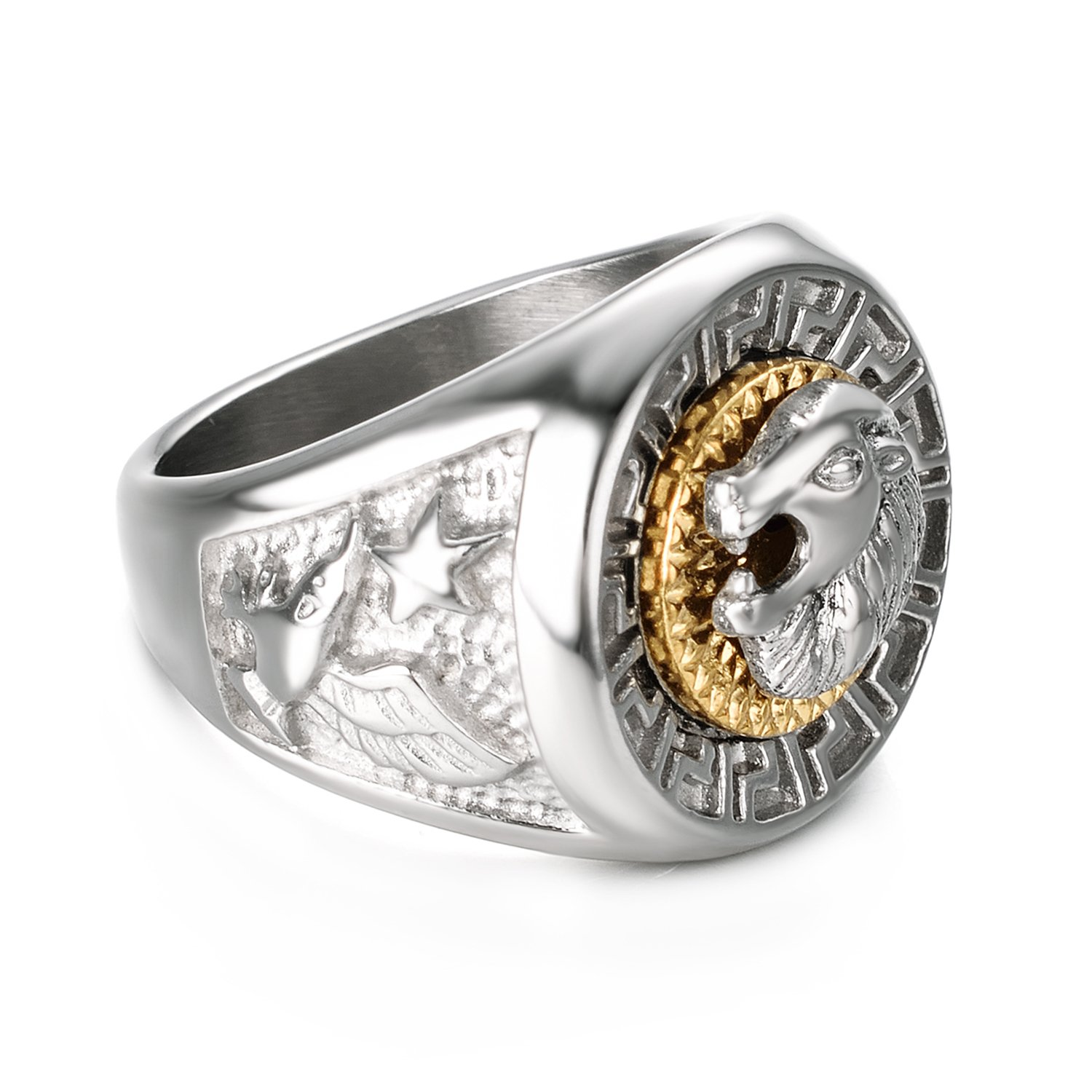 Yoursfs Lion Ring 18K Gold/Sliver Plated Hip Hop Ring Lion Ring Men's Titanium Ring (White, 12) by Yoursfs (Image #5)
