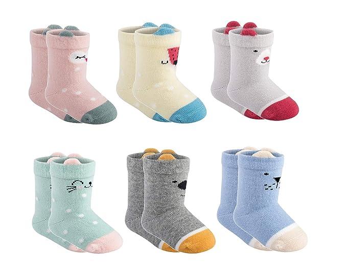Amazon.com: 6 pares de calcetines para bebé recién nacido ...