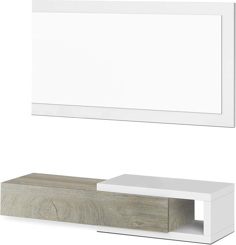 Habitdesign Recibidor con Cajon y Espejo, Mueble de Entrada, Modelo Noon, Acabado en Blanco Artik y Roble Alaska, Medidas: 95 cm (Ancho) x 19 cm ...