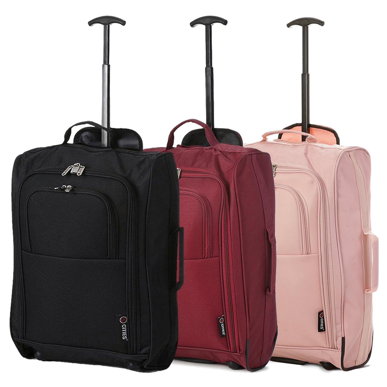 Set di 3 TROLLEY 21 – BAGAGLIO A MANO DA CABINA – VALIGIA LEGGERA, MISURE 55cm – BORSA PER Ryanair, EasyJet, Alitalia, WizzAir e altre.