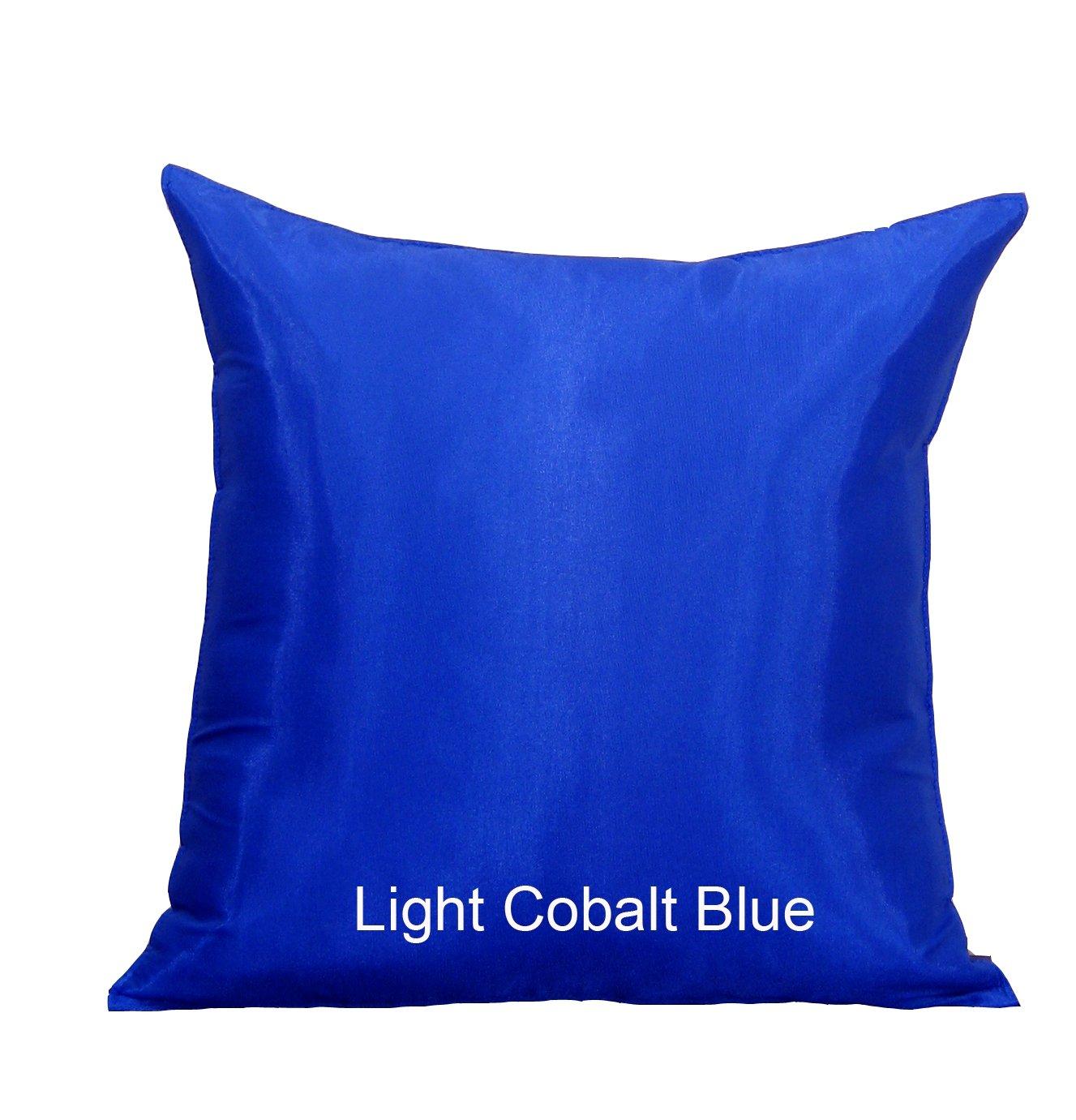 Shopping The Globe - 1 Thai Silk Look 16''x16'' Pillow Cover (Pillow Not Included) - Light Cobalt Blue