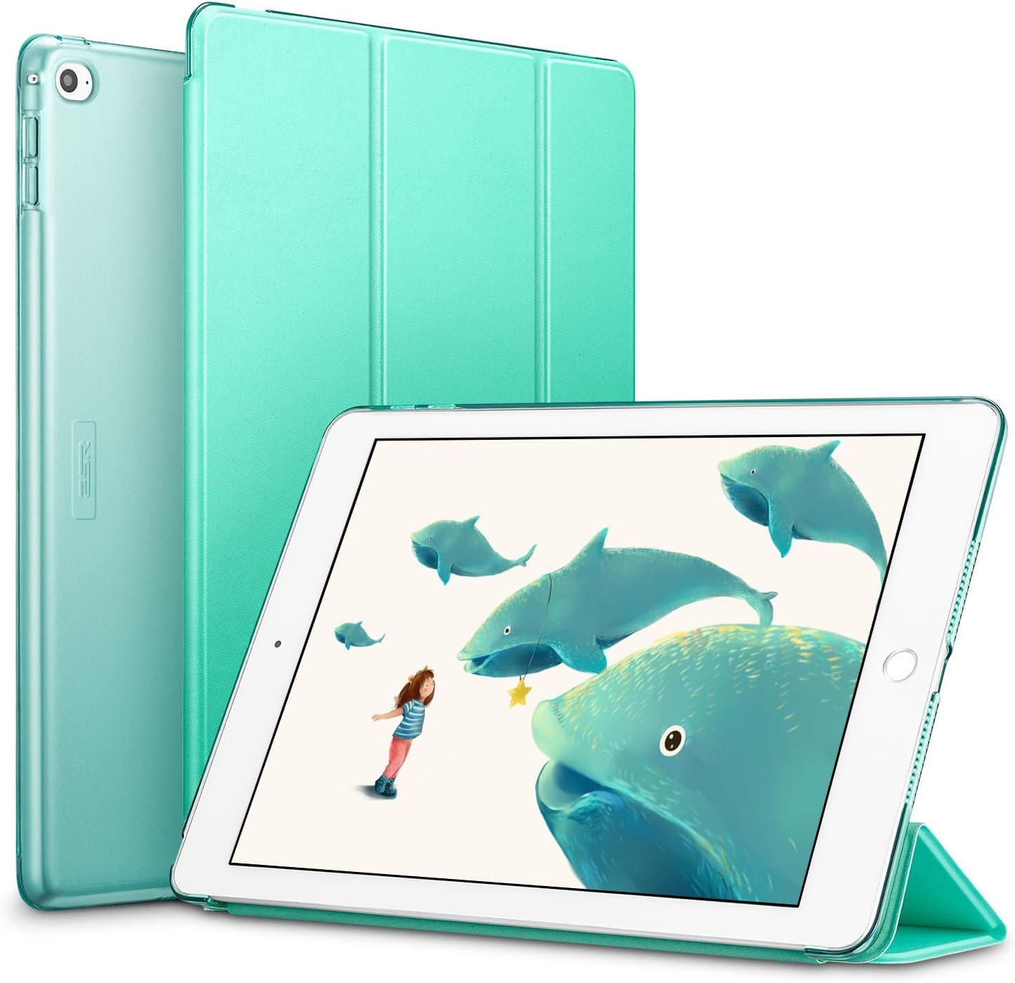 ESR Funda iPad Air 2 Silicona [Auto-Desbloquear] y Función de Soporte [Ligera] de Cuero Sintético y Plástico Duro Transparente Esmerilado Smart Cover Cáscara para iPad Air 2 -Menta