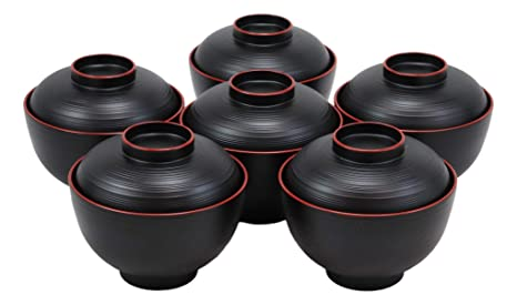 "Set of 15 Japanese Melamine 4/"" Miso Soup Rice Bowls With Lids ~ US Seller"