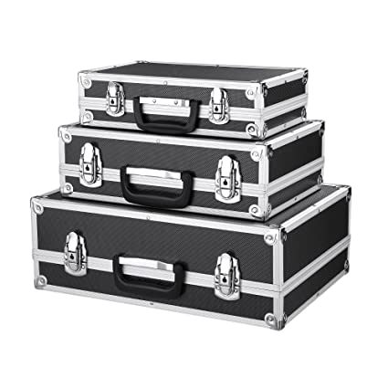 Aluminium cases chequer tool box toolbox storage box carrier briefcase 3pcs set
