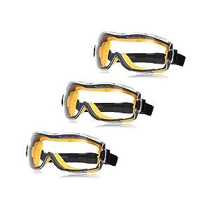 AmazonBasics Safety Goggle - 1QP158A3 Anti-Fog, Clear Lens and Elastic Headband, 3-Count