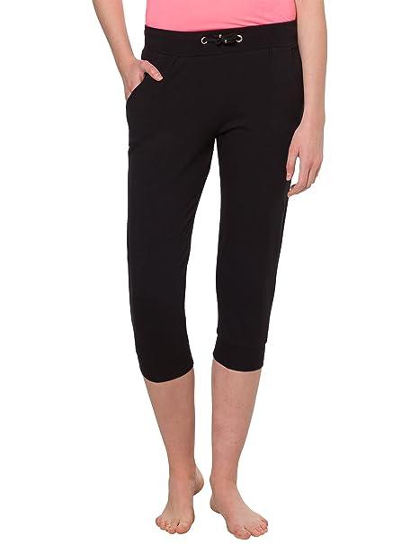 Ultrasport Pantacourt de yoga pour femme Pantacourt de sport pour femme noir Pantalon 34 de gymnastique Pantacourt de fitness souple