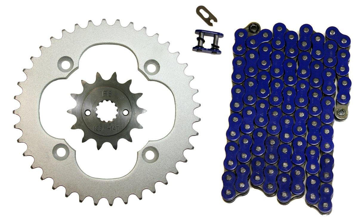 Blue 520x96 O-Ring Drive Chain /& 14//40 Sprockets 2009-2014 Suzuki Quadsport 400