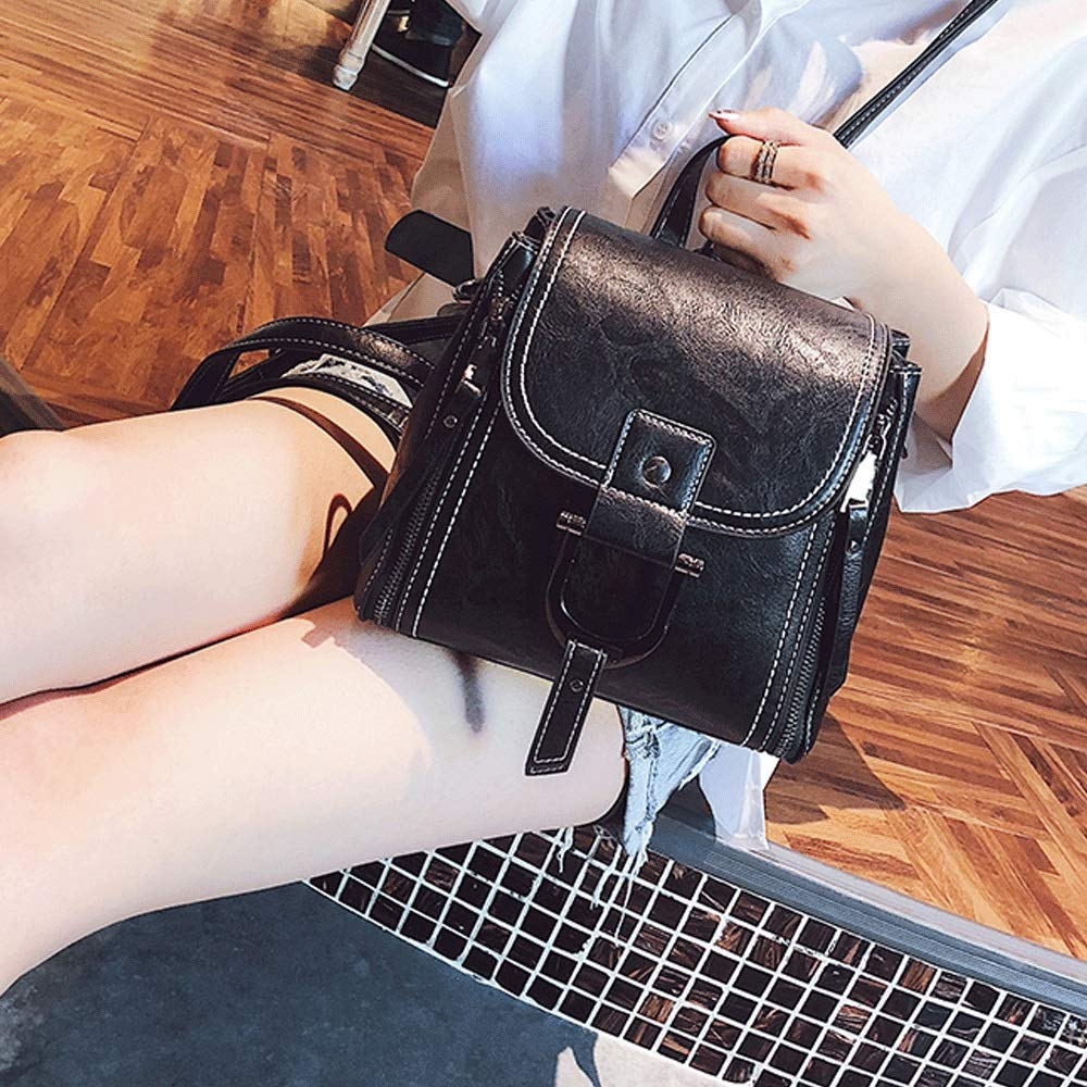 TRDyj Bag Shoulder Bag Female Small Backpack Bag Female Bag Slung Korean Version of The Wild Fashion Soft Leather Shoulder Bag Womens Black