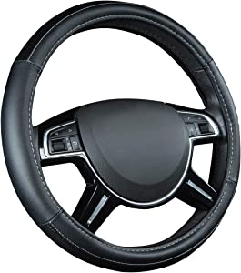 CAR PASS Universal Fit Leather and Carbon Fiber Steering Wheel Cover, Fit for Suvs,Vans,Sedans,Truck, Classical Black