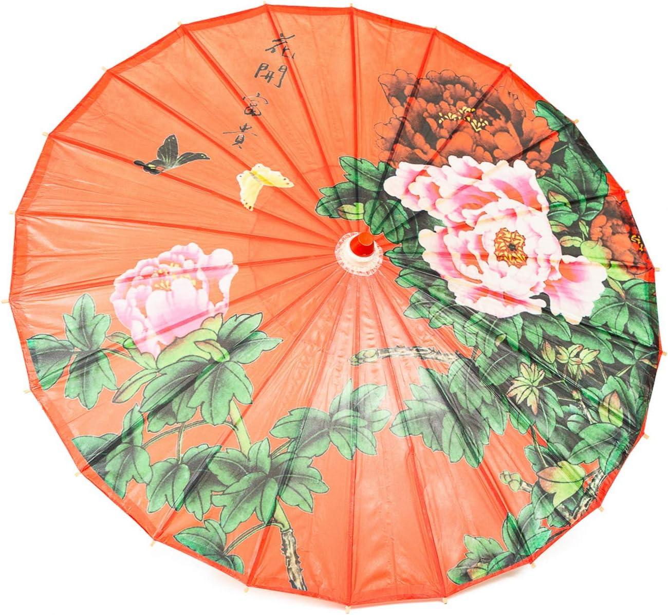 "ASIAN HOME Rainproof Handmade Chinese Oiled Paper Umbrella Parasol 33"" Peony"