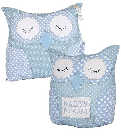 BabyPrem Baby Nursery Room Decoration Fabric Owl Doorstop Cushion BLUE SET
