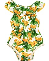 MIOIM Toddler Infant Baby Girls Off Shoulder Yellow Tulip Floral Romper Bodysuit