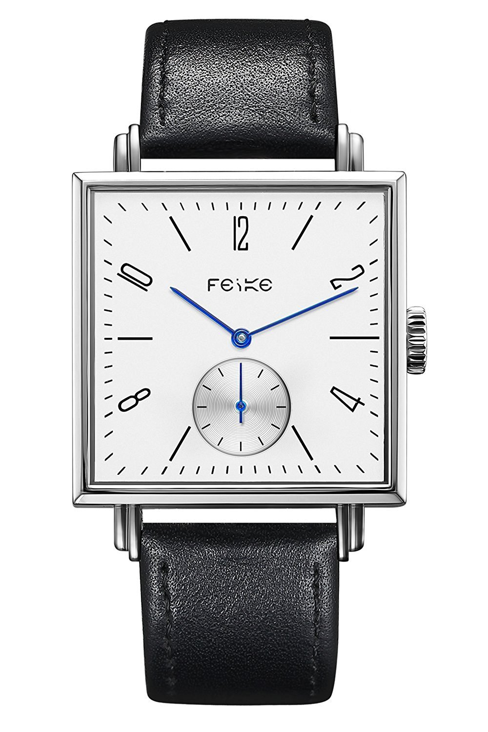 FEICE Automatic Mechanical Men's Watch Square Wrist Watch for men Stainless Steel Leather Watch Bands Casual Simple Business Unique Watch Best Gift #FM301(Black)
