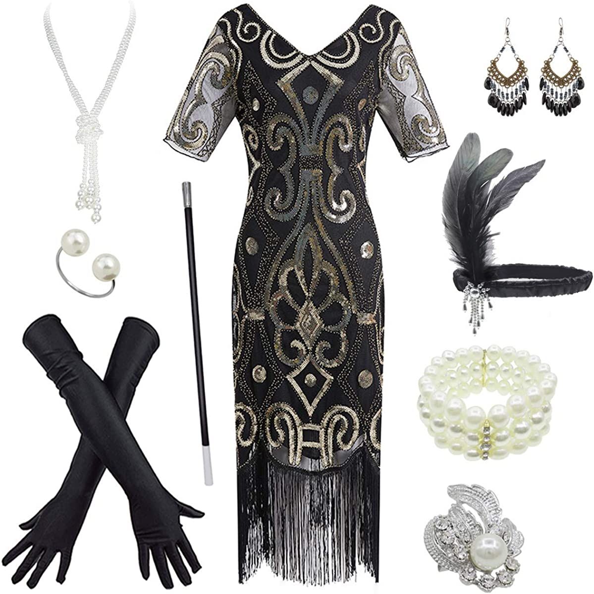 Womens 1920s Gatsby Inspired Sequin Beads Long Fringe Flapper Dress w//Accessories Set
