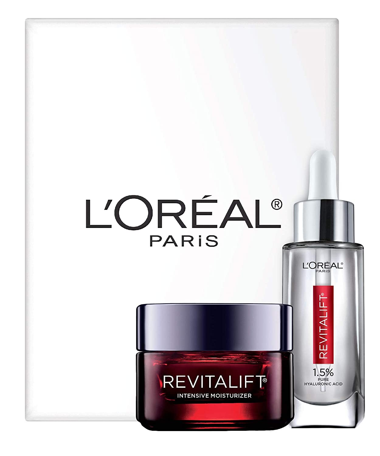 L'Oreal Paris Skin Care Revitalift Hyaluronic Acid Facial Serum and Triple Power Face Moisturizer Anti-Aging Skin Care Set, 1 Kit