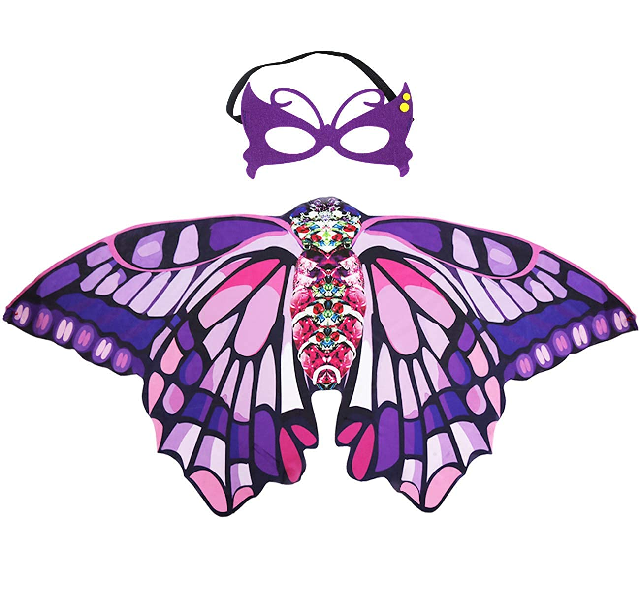 Kids Butterfly Wings Costume and Mask for Girls Rainbow Fairy Dress Up Pretend Play Party Favors