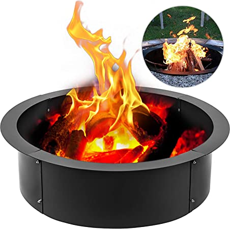 Amazon Com Vbenlem Fire Pit Ring 36 Inch Outsidex 30 Inch Inside Heavy Duty Solid Steel 3 0mm Thick Fire Pit Liner Diy Campfire Ring Above Or In Ground For Outdoor Garden Outdoor