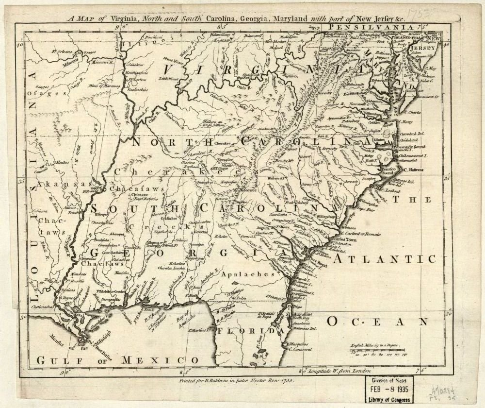 South Virginia Map.Amazon Com Vintage 1755 Map Of A Map Of Virginia North And South