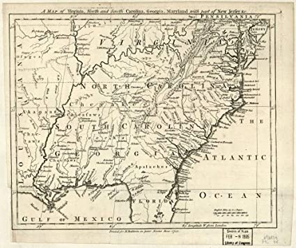 Map Of Georgia Coastal Towns.Amazon Com Vintage 1755 Map Of A Map Of Virginia North And South