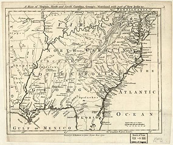Amazon Com Vintage 1755 Map Of A Map Of Virginia North And South