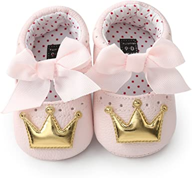 jieGREAT Babys Kids Shoes ☆ for 0-18 Months Newborn Infant Baby Shoes Baby First Walking Shoes Girl Crown Princess Shoes Soft Sole Anti-Slip Sneakers