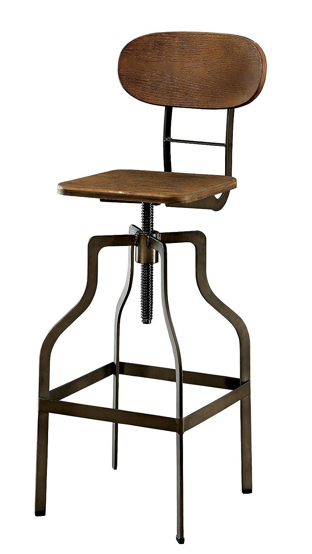 Amazon.com: Furniture Of America Alavus Industrial Height Adjustable Swivel  Barstool, Oak: Kitchen U0026 Dining