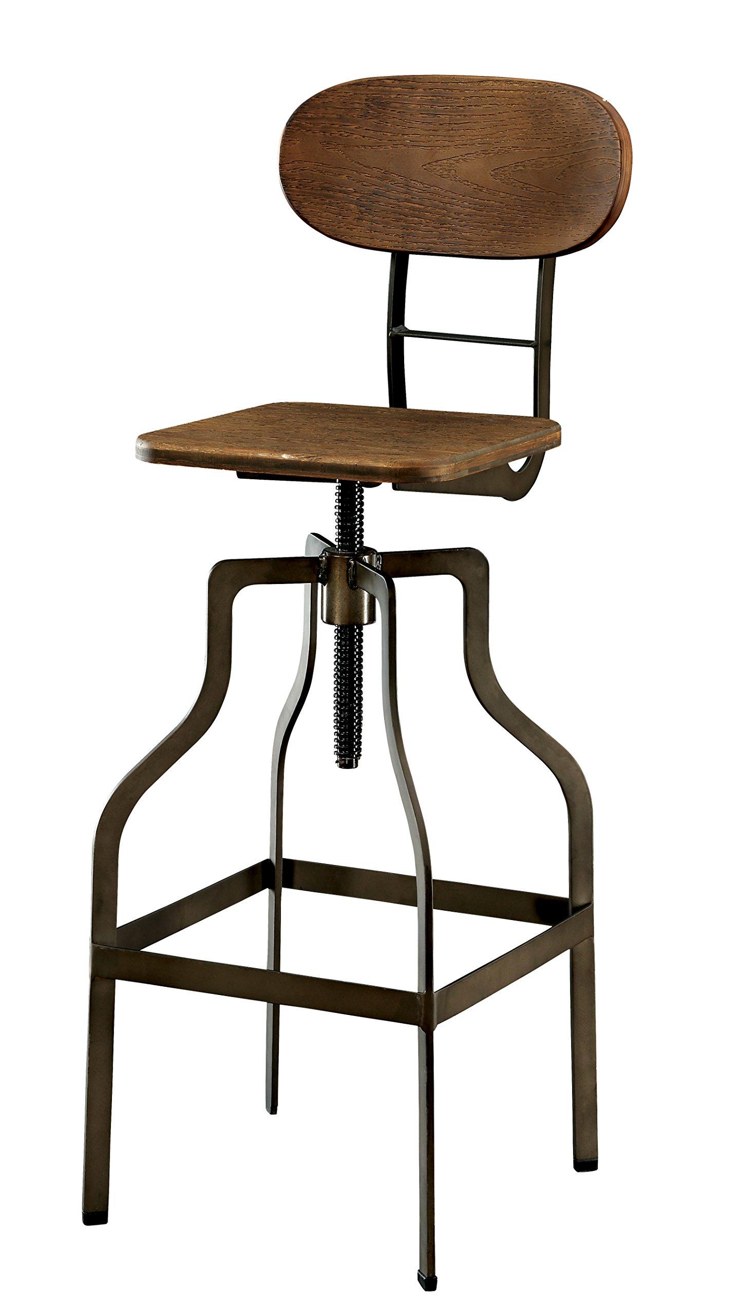 Furniture of America Alavus Industrial Height-Adjustable Swivel Barstool, Oak by Furniture of America
