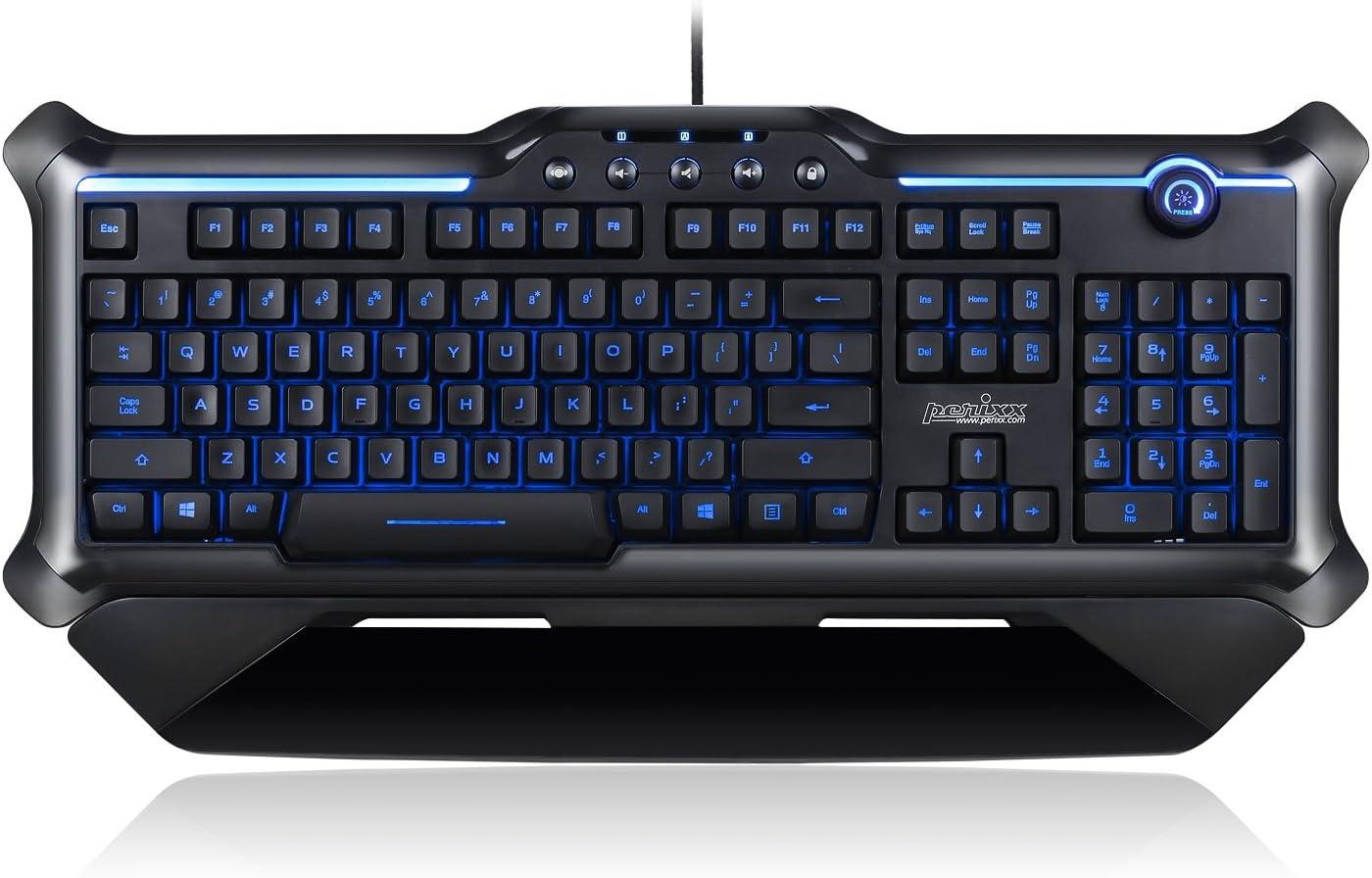 Perixx PX-1200, Teclado retroiluminado para Videojuegos, 18 Teclas antighosting, Teclas con iluminación roja/Azul/Morado, diseño inglés del Reino ...