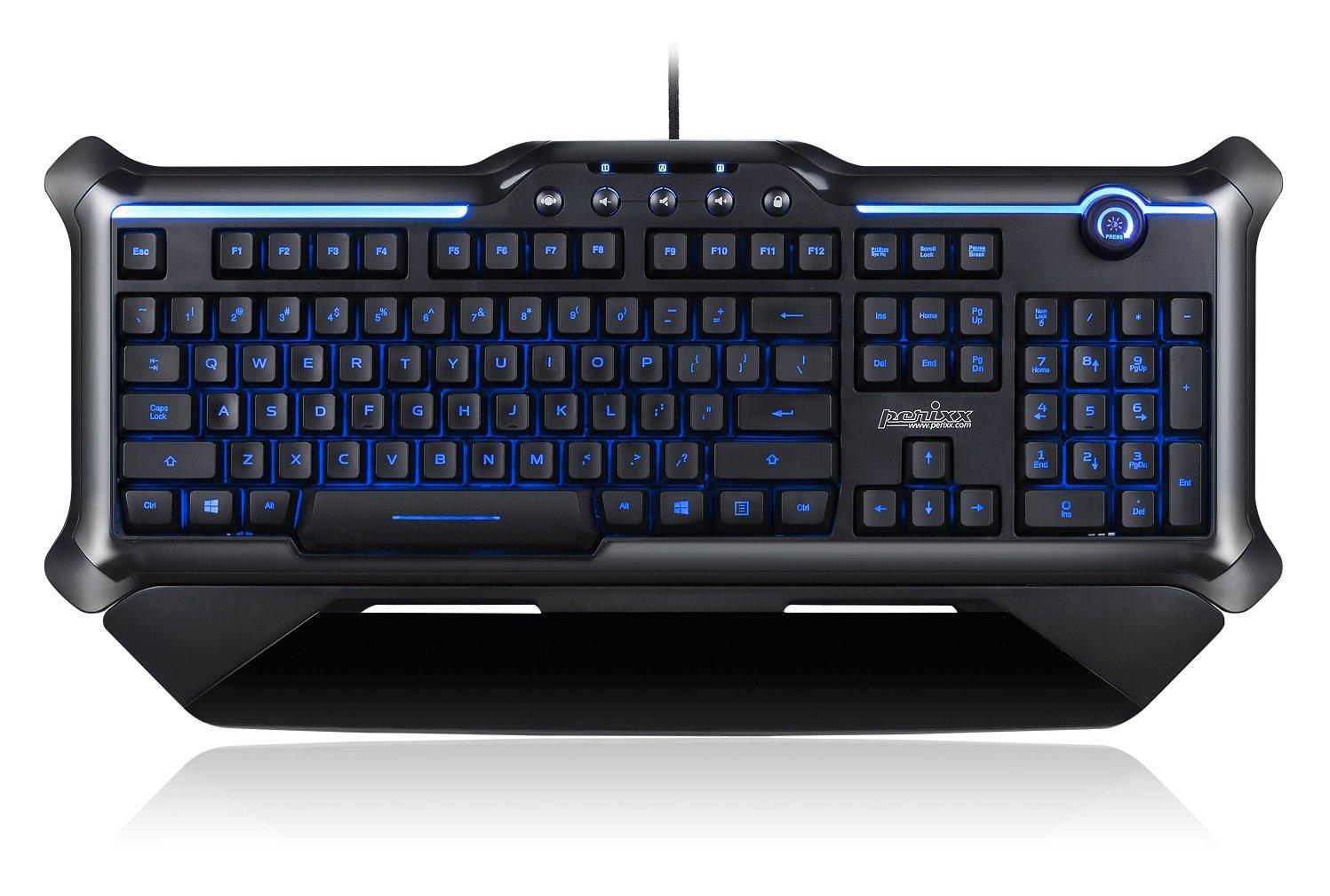 Perixx PX-1200, teclado retroiluminado para videojuegos, 18 teclas antighosting, teclas con iluminación roja/azul/morado, diseño inglés del Reino Unido: ...